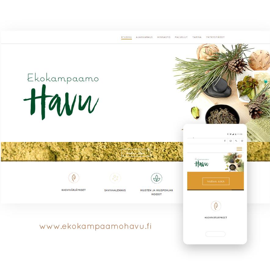 Nettisivusuunnittelu Flatdot Ekokampaamo Havu